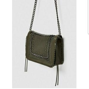 ZARA genuine suede army green chain handbag